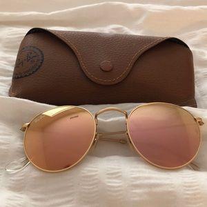 Pink frames ray ban gold